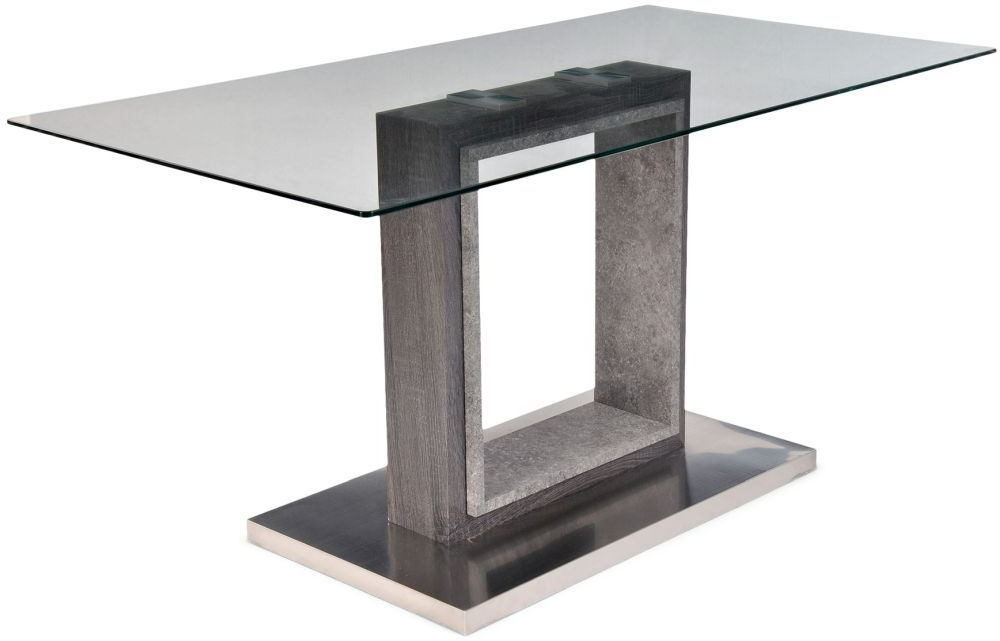 Buy Hilton Grey High Gloss Dining Table With Glass Top – 150Cm In Most Current Grey Gloss Dining Tables (View 4 of 20)