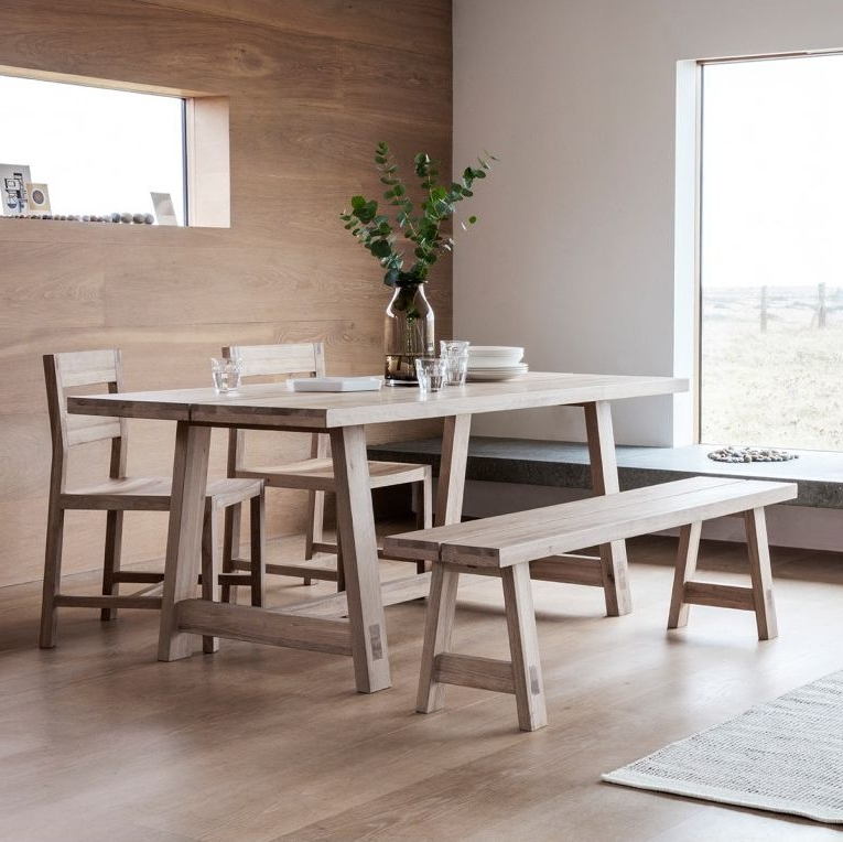 Buy Hudson Living Kielder Oak Dining Table – 240Cm Rectangular Fixed Inside Well Liked Hudson Dining Tables And Chairs (View 4 of 20)