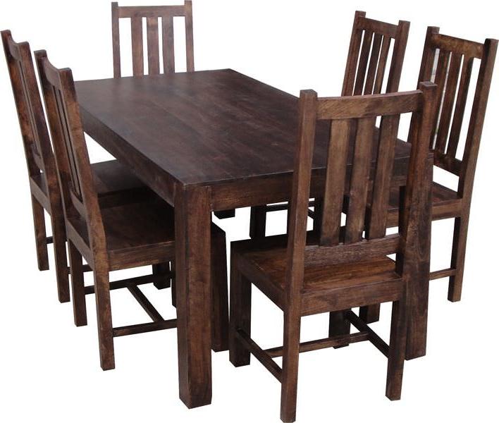 Buy Jaipur Dakota Walnut Mango Wood Large Dining Set With 6 Dakota Pertaining To 2017 Walnut Dining Tables And 6 Chairs (View 20 of 20)