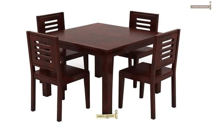 Buy Janet 4 Seater Dining Table Set (Mahogany Finish) Online In With Most Current 6 Seat Dining Tables And Chairs (View 17 of 20)