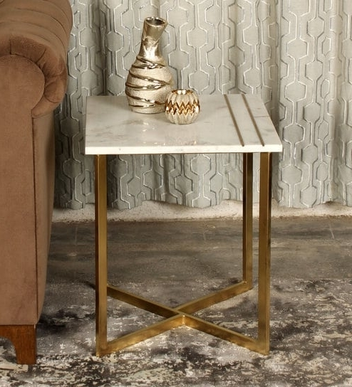 Buy Marble Top Side Table In White & Gold Colourminthomez Online Within Well Known Cole Ii White Side Chairs (View 1 of 20)