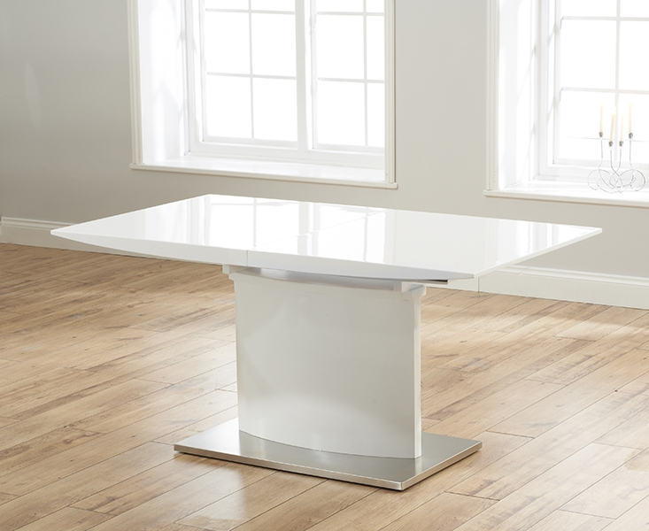 Buy Mark Harris Hayden White High Gloss Rectangular Extending Dining Inside Most Up To Date Hayden Dining Tables (View 4 of 20)
