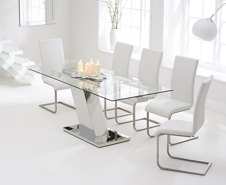 Buy Mark Harris Lamont Glass Dining Set – 140cm Rectangular Regarding Well Known Cheap Glass Dining Tables And 6 Chairs (View 5 of 20)