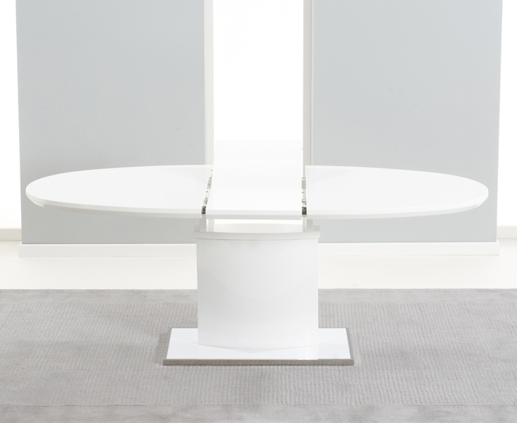 Buy Mark Harris Seville White High Gloss Oval Extending Dining Table Inside Famous White High Gloss Oval Dining Tables (View 2 of 20)