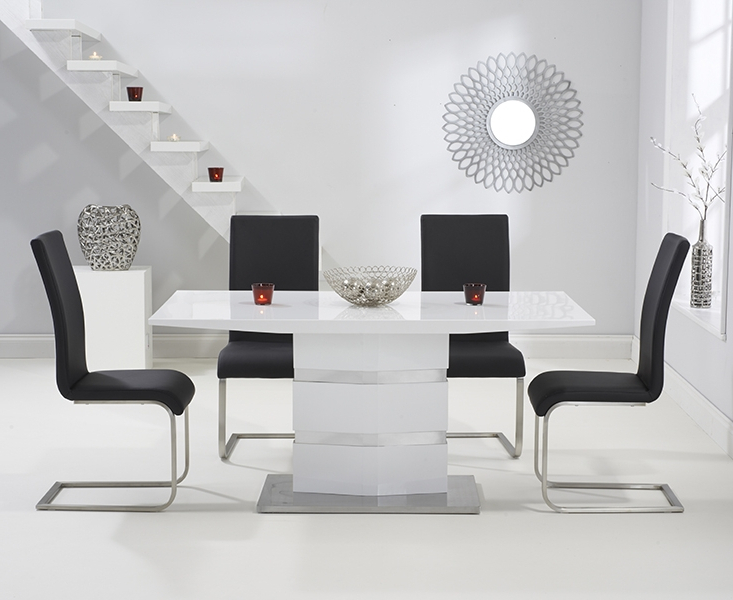 Buy Mark Harris Springfield White High Gloss Rectangular Dining Set With Famous White High Gloss Dining Tables And 4 Chairs (Gallery 18 of 20)