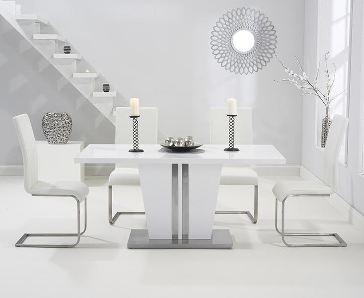 Buy Mark Harris Vigo White High Gloss Dining Set – 160Cm Rectangular Throughout Well Known Black Gloss Dining Room Furniture (View 3 of 20)