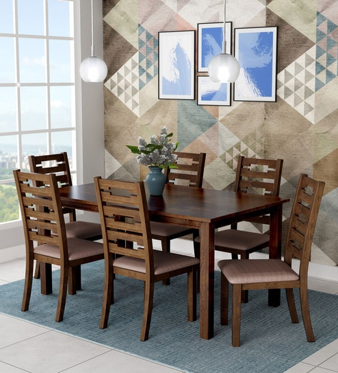 Buy Rocco Six Seater Dining Set In Walnut Finishroyal Oak Online With Regard To Recent Rocco 7 Piece Extension Dining Sets (View 5 of 20)