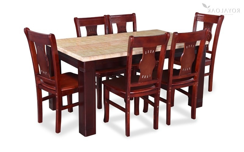 Buy Royaloak Lido 6 Seater Dining Set With Art Marble Table Top Throughout 2017 6 Seater Dining Tables (View 3 of 20)