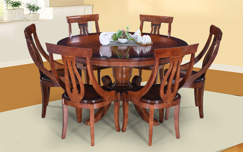 Buy Royaloak Melon 6 Seater Solidwood Dining Set With Round Table Intended For 2018 Round 6 Seater Dining Tables (View 8 of 20)