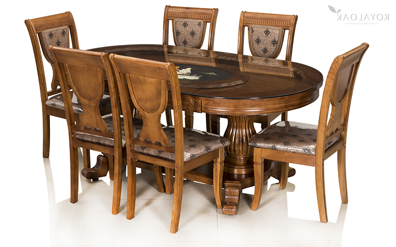 Buy Royaloak Titan 6 Seater Solid Oakwood Dining Set With Tempered With Regard To Most Up To Date Six Seater Dining Tables (Gallery 7 of 20)