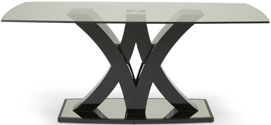 Buy Serene Barcelona Black High Gloss Rectangular Glass Top Dining Within Most Recently Released Barcelona Dining Tables (View 7 of 20)