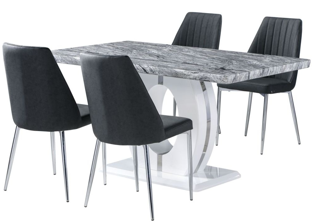 Buy Shankar Marble Effect Top Rectangular Dining Set With 4 Odeon For Current Marble Effect Dining Tables And Chairs (View 2 of 20)