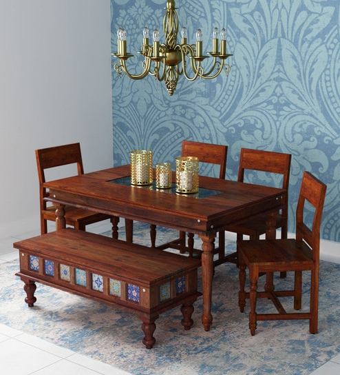 Buy Siramika Solid Wood Six Seater Dining Set With Bench In Honey Inside Preferred Six Seater Dining Tables (View 4 of 20)