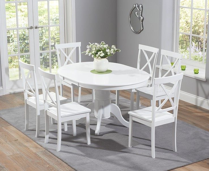 Buy The Epsom White Pedestal Extending Dining Table Set With Chairs Intended For Latest Round Extending Dining Tables Sets (View 1 of 20)