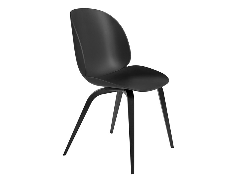 Buy The Gubi Beetle Dining Chair Unupholstered Black Wood Base At For Most Popular Black Dining Chairs (View 6 of 20)