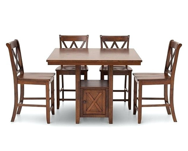 Caden 5 Piece Round Dining Sets Intended For 2017 Counter Height Tables Furniture Row Dining Chairs Cottage 5 Room Set (View 11 of 20)