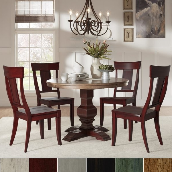 Caden 5 Piece Round Dining Sets Pertaining To Famous Eleanor Red Round Solid Wood Top 5 Piece Dining Set – Panel Back (View 6 of 20)