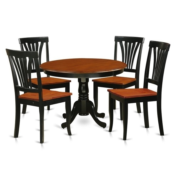 Caden 5 Piece Round Dining Sets With Upholstered Side Chairs Throughout Latest Hlav5 W 5 Pc Table Set With A Dinette Table And 4 Dining Chairs (View 1 of 20)