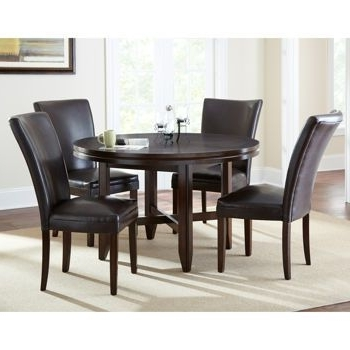 "Caden 6 Piece Dining Sets With Upholstered Side Chair For Well Liked Caden 5 Piece Dining Set With 52"" Table (View 3 of 20)"