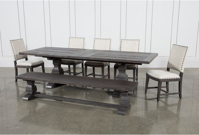 Caden 6 Piece Rectangle Dining Sets Inside Well Known Norwood 7 Piece Rectangular Extension Dining Set With Bench & Uph (View 9 of 20)