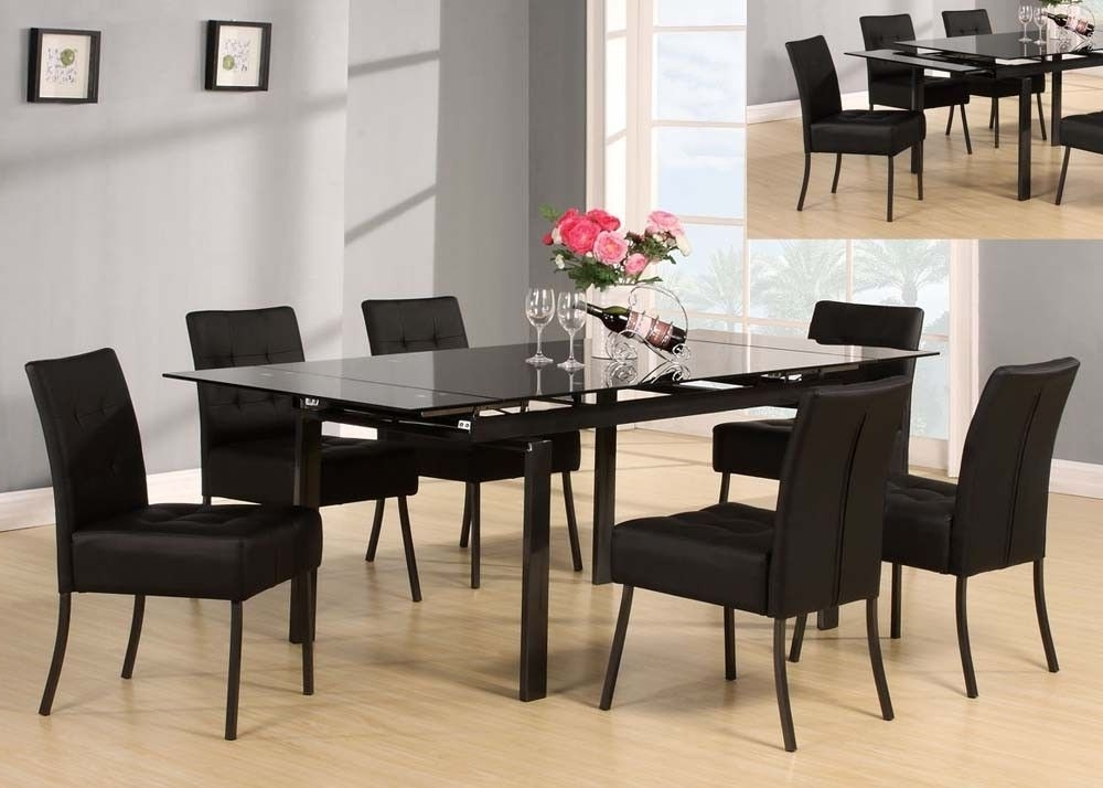 Caden 7 Piece Dining Sets With Upholstered Side Chair For Fashionable Acme 71010 Parrish Black 7 Piece Glass Dining Set (View 3 of 20)