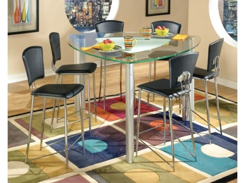 Caira 7 Piece Rectangular Dining Sets With Diamond Back Side Chairs Within Most Recently Released Triangular Modern Tracy Glass Counter Height Table & Chrome Stools (View 13 of 20)
