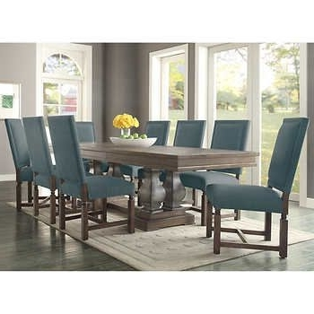 Caira 7 Piece Rectangular Dining Sets With Upholstered Side Chairs With Regard To Trendy Parador 9 Piece Dining Set – Fabric Costco $ (View 5 of 20)