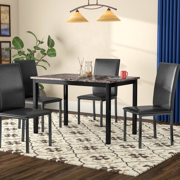 Caira Black 5 Piece Round Dining Sets With Upholstered Side Chairs For Fashionable 5 Pice Dining Sets (View 6 of 20)
