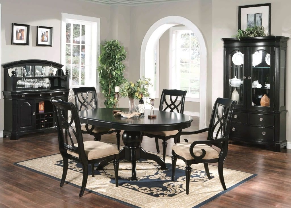 Caira Black 7 Piece Dining Sets With Arm Chairs & Diamond Back Chairs Regarding Fashionable Formal Dining Room 6 Piece Set Oval Table Chairs Black (View 16 of 20)