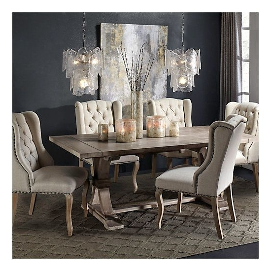 Caira Black 7 Piece Dining Sets With Arm Chairs & Diamond Back Chairs With 2017 Archer Natural Grey Extending Dining Table In (View 9 of 20)