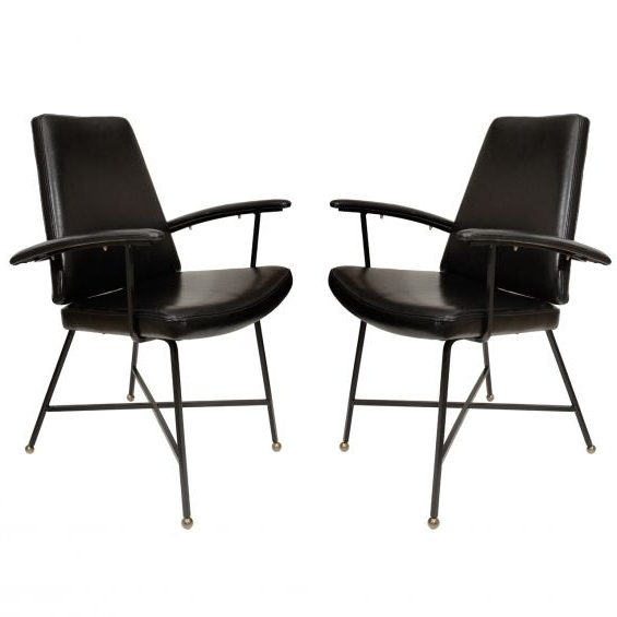 Featured Photo of Caira Black Upholstered Arm Chairs
