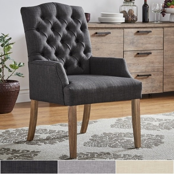Caira Black Upholstered Arm Chairs With Regard To Most Current Shop Benchwright Premium Tufted Linen Dining Arm Chairinspire Q (View 6 of 20)