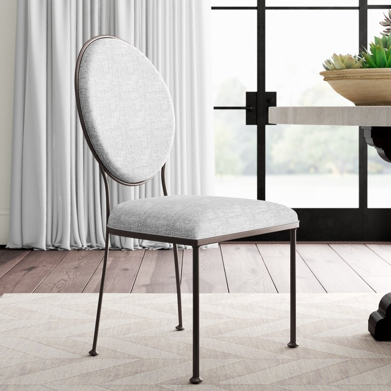 Caira Black Upholstered Arm Chairs With Regard To Newest Greyleigh Cairo Oval Back Upholstered Dining Chair (View 7 of 20)