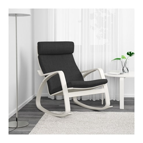 Caira Black Upholstered Arm Chairs Within Most Up To Date Poäng Rocking Chair – Stenli Black/white – Ikea (View 8 of 20)