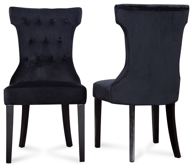 Caira Black Upholstered Diamond Back Side Chairs For Fashionable Parsons Elegant Tufted Upholstered Dining Chair, Set Of (View 3 of 20)