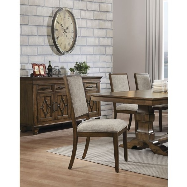 Caira Upholstered Diamond Back Side Chairs With Recent Gracie Oaks Calhoon Upholstered Dining Chair (View 6 of 20)