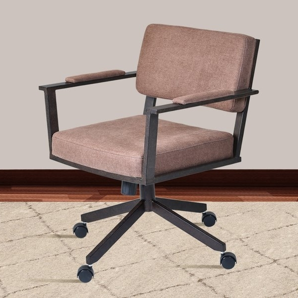 Caira Upholstered Diamond Back Side Chairs With Well Known Shop Armen Living Cairo Auburn Bay And Brown Fabric Director Tilt (View 17 of 20)