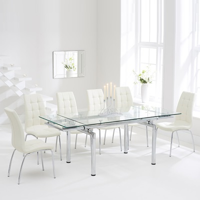Calgary Glass Extending Dining Table With 8 Cream Chairs Within Well Known Extending Glass Dining Tables And 8 Chairs (View 2 of 20)