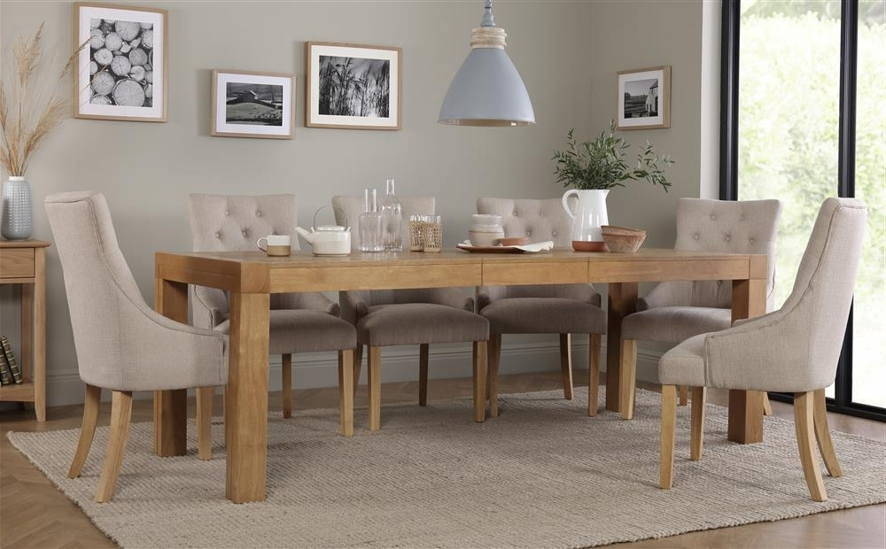 Cambridge 175 220Cm Oak Extending Dining Table With 6 Duke Oatmeal With Regard To 2017 Cambridge Dining Tables (View 3 of 20)