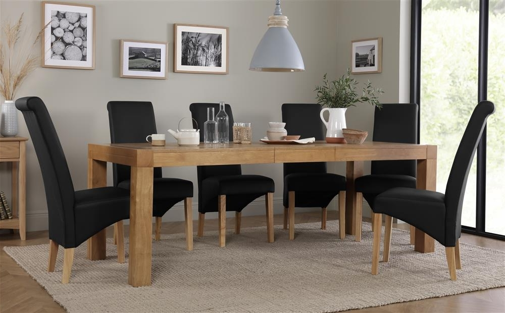 Cambridge Oak Extending Dining Table With 8 Richmond Black Chairs Within Latest Cambridge Dining Tables (View 7 of 20)