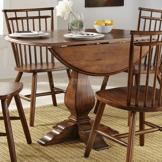 Candice Ii 5 Piece Round Dining Sets With Slat Back Side Chairs For Latest Creations Ii Drop Leaf Pedestal Dining Table (View 3 of 16)