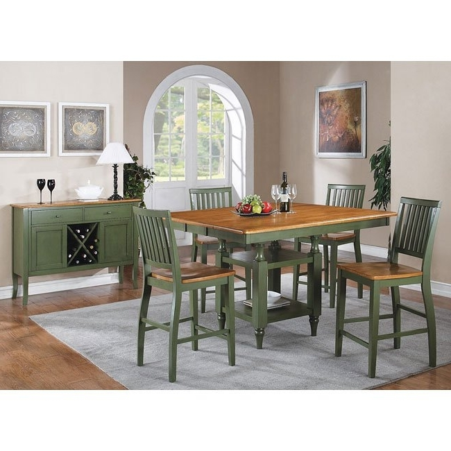 Candice Ii 6 Piece Extension Rectangle Dining Sets For Well Known Candice Counter Height Dining Set (oak / Green) Steve Silver (View 14 of 20)