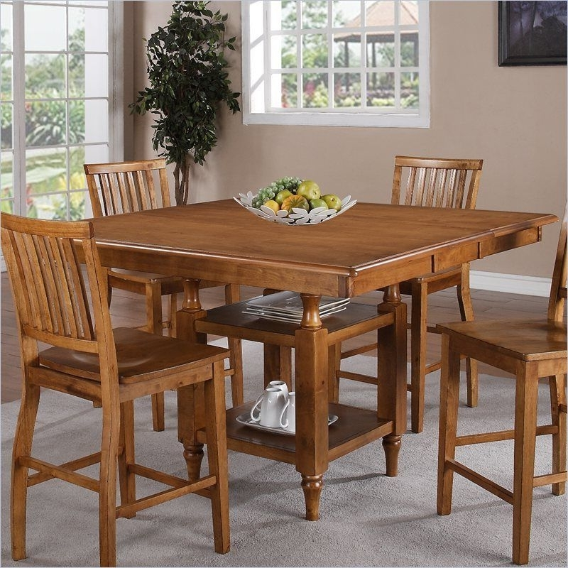 Candice Ii 7 Piece Extension Rectangle Dining Sets Intended For Latest Steve Silver Company Candice Counter Height W/butterfly Leaf Oak (View 14 of 20)