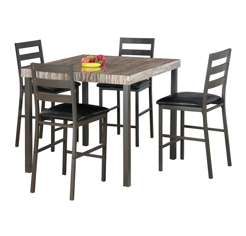 Candice Ii 7 Piece Extension Rectangle Dining Sets Pertaining To Trendy Latitude Run Cora 5 Piece Dining Set & Reviews (View 6 of 20)