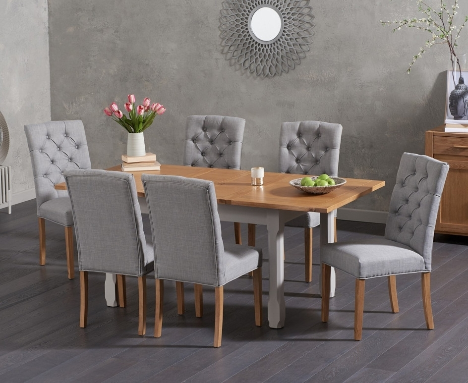 Candice Ii 7 Piece Extension Rectangle Dining Sets With 2018 Somerset 130cm Oak And Grey Extending Dining Table With Candice Grey (View 3 of 20)