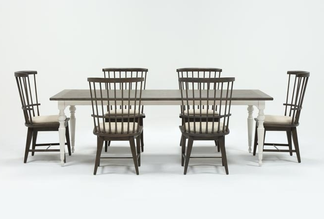 Candice Ii 7 Piece Extension Rectangular Dining Set With Slat Back Inside Well Known Candice Ii Upholstered Side Chairs (View 4 of 20)