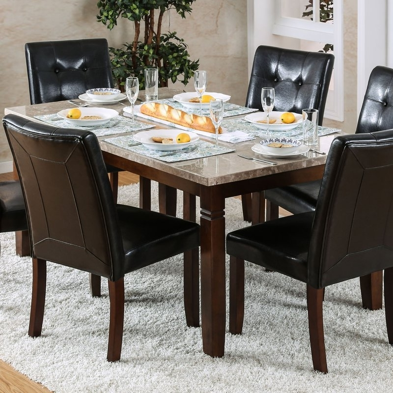 Candice Ii 7 Piece Extension Rectangular Dining Sets With Uph Side Chairs In Widely Used Red Barrel Studio Gibbons 7 Piece Dining Set (View 3 of 20)