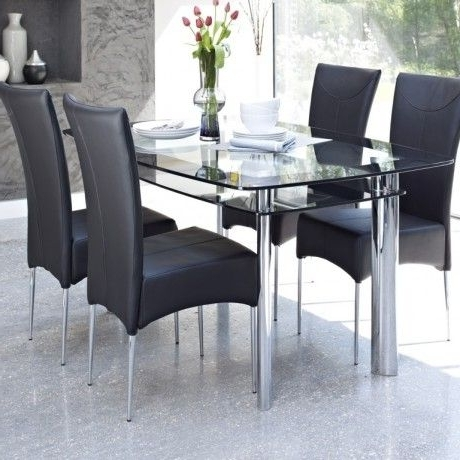 Candice Ii 7 Piece Extension Rectangular Dining Sets With Uph Side Chairs Inside Most Recently Released Contemporary Glass Dining Table Design Come With 2 Tier To Storage (View 11 of 20)
