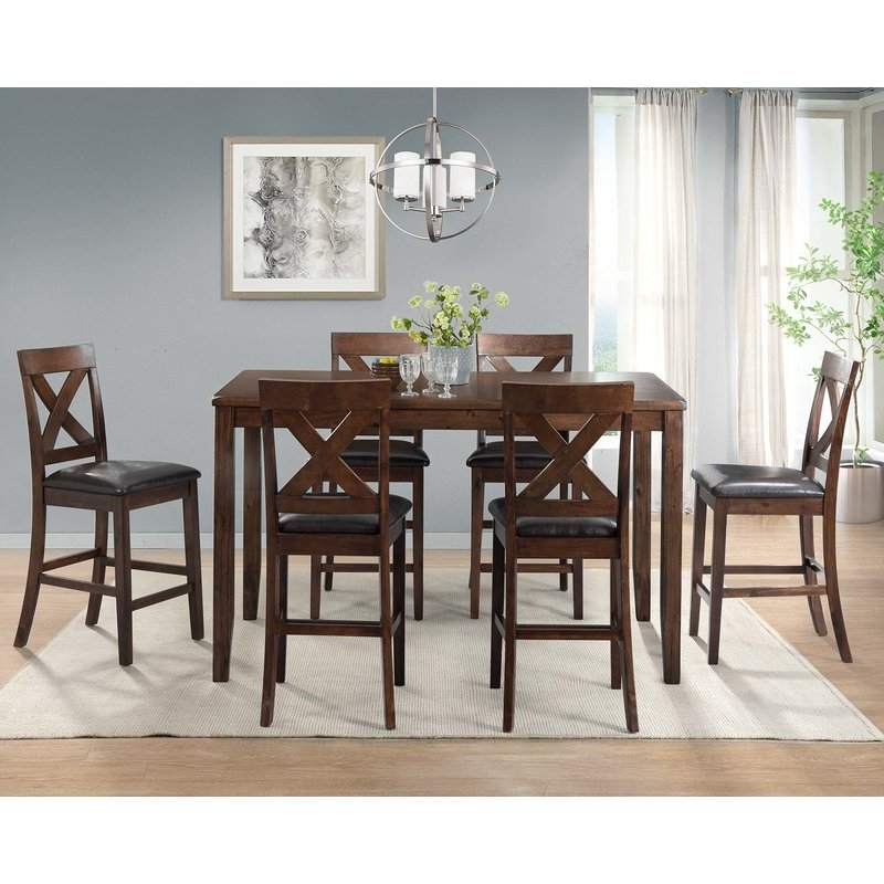 Candice Ii 7 Piece Extension Rectangular Dining Sets With Uph Side Chairs Pertaining To Popular Darby Home Co Makaila 7 Piece Counter Height Dining Set & Reviews (View 6 of 20)