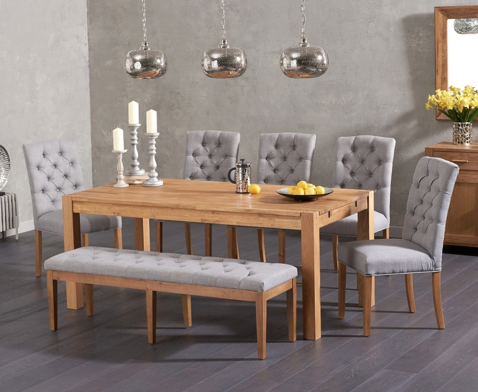 Candice Ii Extension Rectangle Dining Tables Regarding Most Popular Verona 180cm Solid Oak Dining Table With Candice Fabric Chairs And (View 11 of 20)